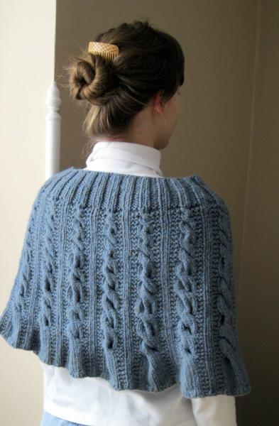 Knit wool cape or capelet, blue
