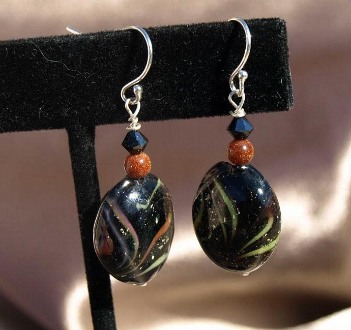 Dramatic Black with Sparkle Highlights Earrings