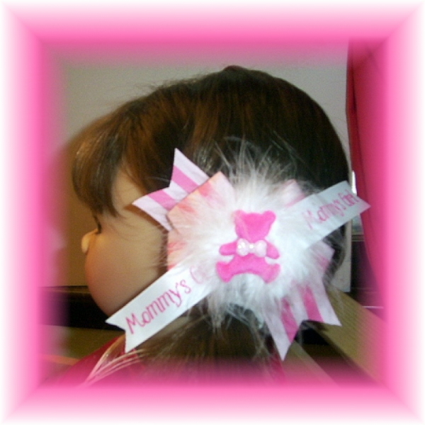 Mommy's Girl Pink Teddy Bear Hair Bow with Marabou  FREE SHIPPING