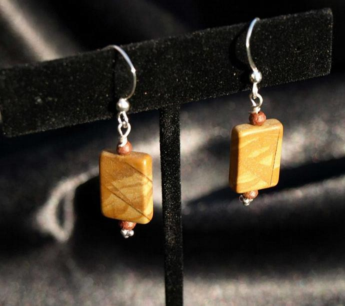 Gold Leaf Agate Sterling Silver Earrings