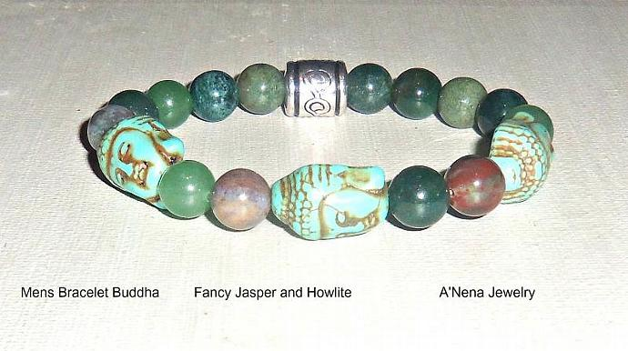 Mens Bracelet Buddha, Howlite and Fancy Jasper,Prosperity