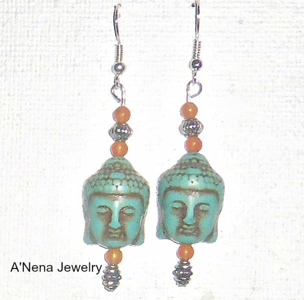Buddha Earrings Howlite, Quartzite Enlightenment