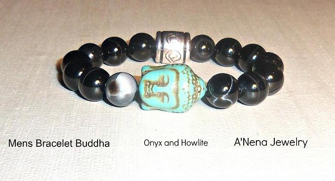 "Men's Bracelet  Buddha ""Happiness and Peace"" Onyx and Howlite"