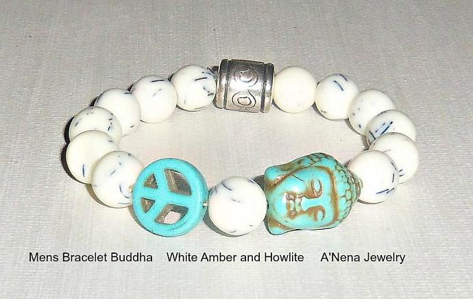 Mens Bracelet Buddha White Amber and Howlite Successful