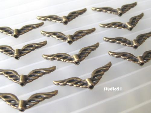 40 pcs of Tibetan Antique Bronze Finish Angel Wing Charm/Pendant