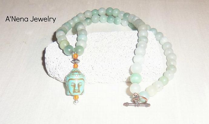 Mens Necklace Buddha Amazonite, Quartzite and Howlite Courage