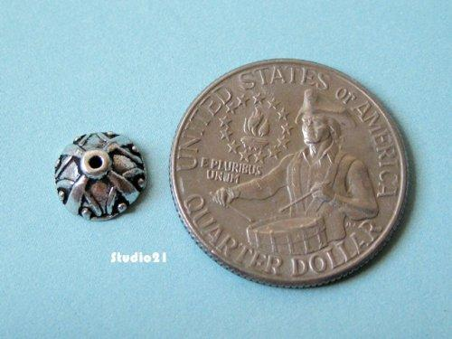 20 pcs of Antique Silver Finish 9mm Bead Cap