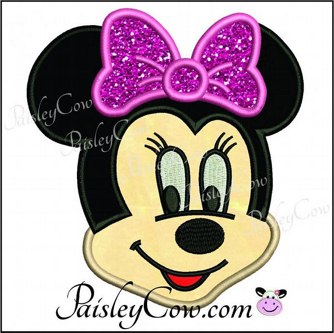 Minnie mouse face head applique fill stitch paisleycow