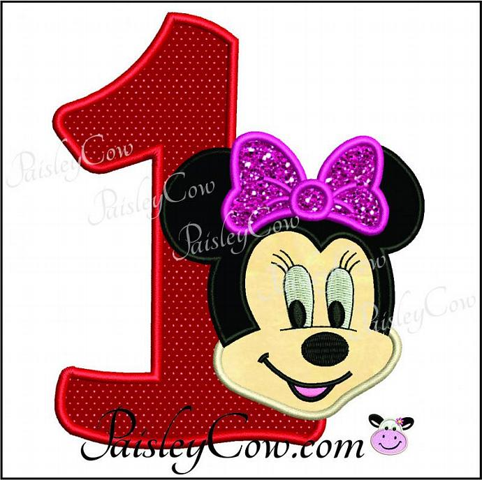 Minnie mouse one first birthday applique by paisleycow on