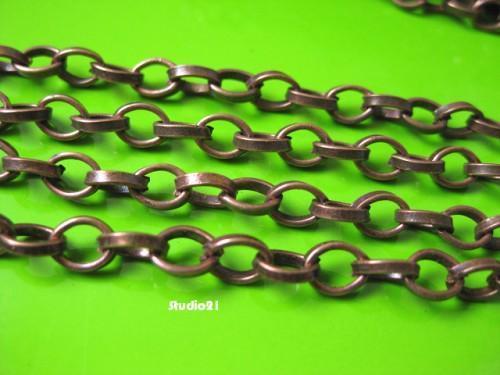 5 feet of Red Copper Finish Plain Rollo Chain