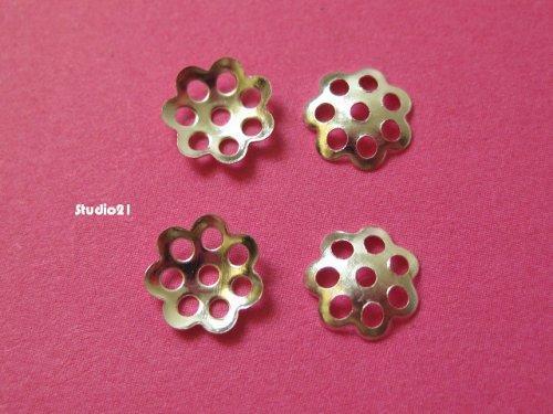100 pcs of Bright Silver Finish Mini Flower 6mm Bead Cap