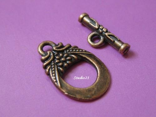 20 sets of Tibetan Red Copper Finish Toggle Clasp