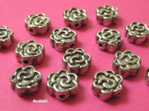 20 pcs of Antique Silver Finish Flower 6mm Spacer/Bead