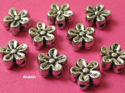 20 pcs of Antique Silver Finish 5-Petal Flower 6mm Spacer/Bead