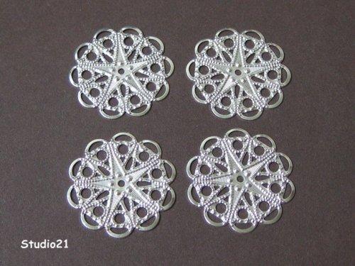 4 pieces of Bright Silver Finish Round Filigree