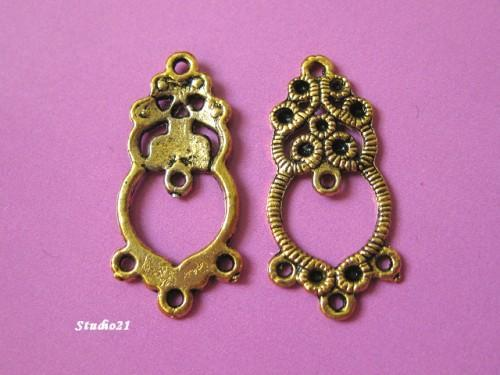 20 pcs of Tibetan Antique Gold Finish Flower 1-to-3 Connector