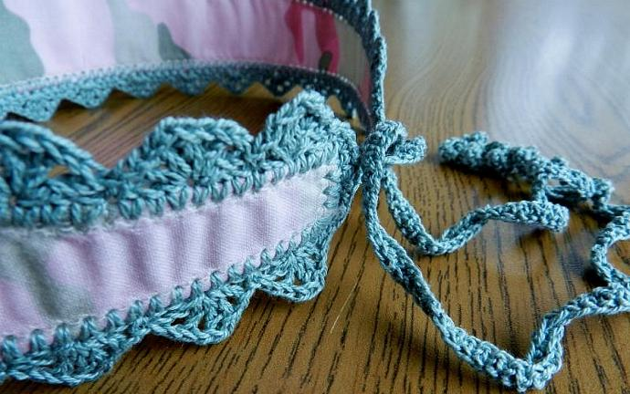 Girly Camo Print Headband Pink Green Crocheted Trim and Ties