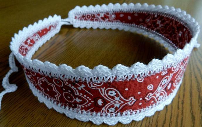 Red Headband, Bandanna Print, White Crochet Trim and Ties