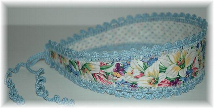 Headband with Ties, Blue Lily Print