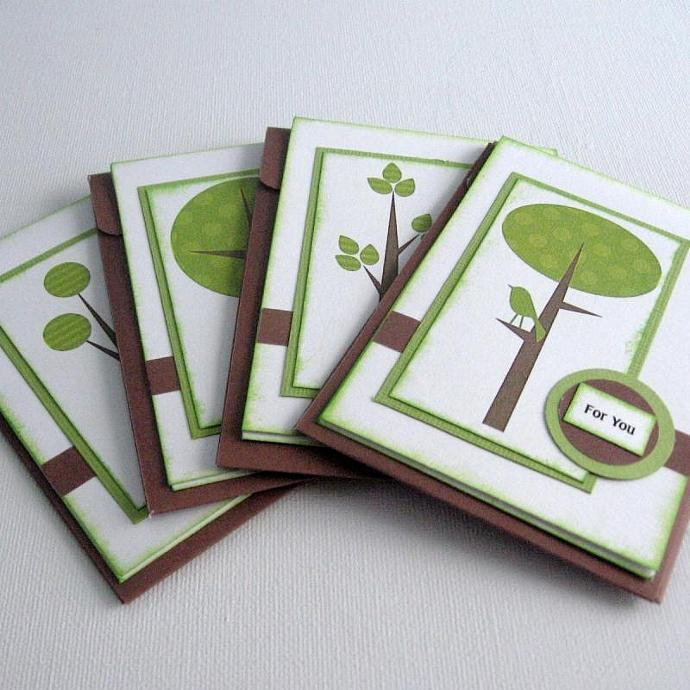 Greeting Cards with Green Trees and Birds