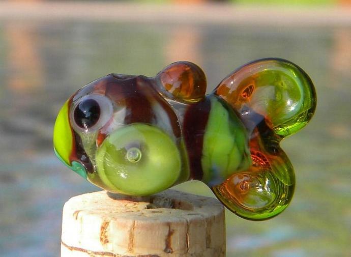 Fish lampwork focal bead
