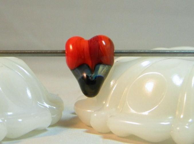 Heart shaped lampwork Red stripe bead
