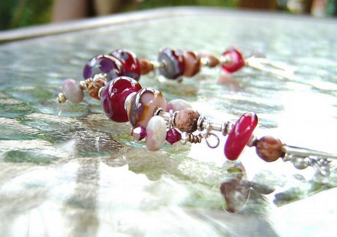 Pink lampwork bead dangle bracelet