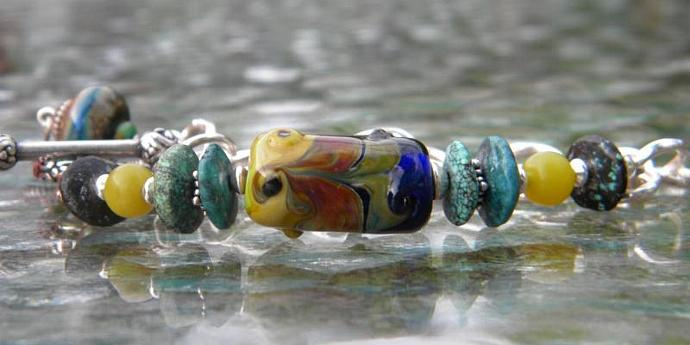Lampwork bead and chain bracelet