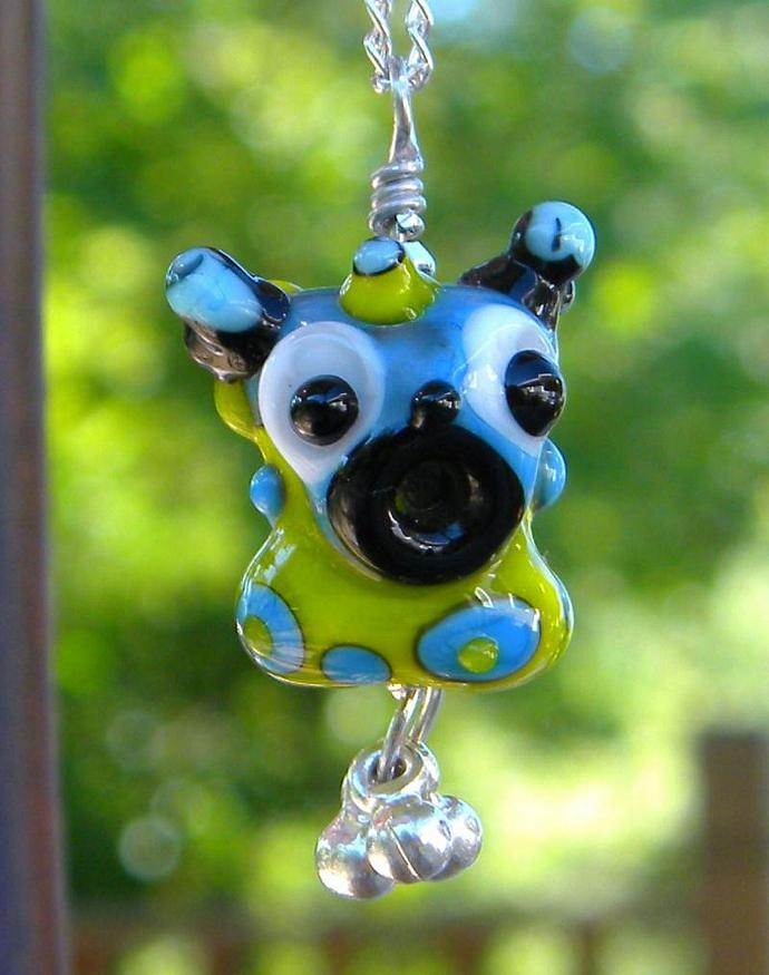 Monster lampwork bead necklace