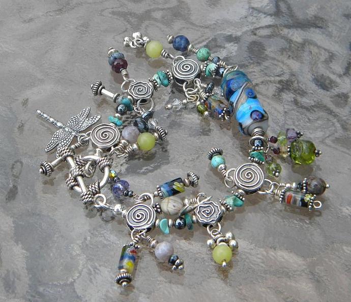 Charm bracelet with lampwork bead focal