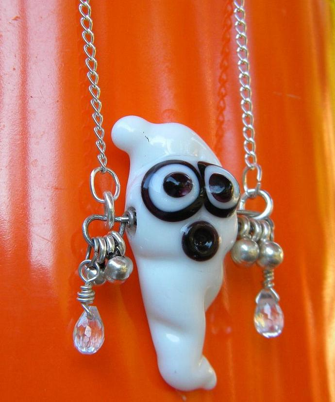 Ghost glass bead lampwork necklace