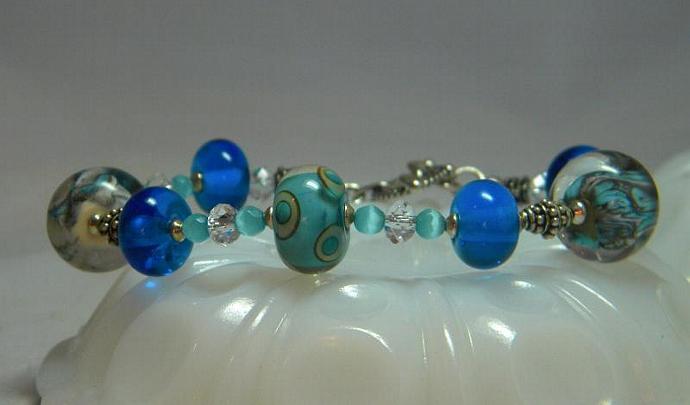 Turquoise lampwork bead bracelet
