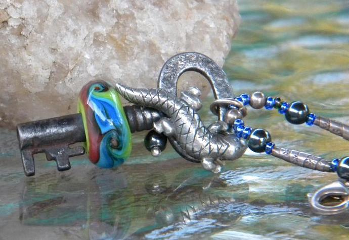 Vintage Skeleton key with lampwork bead