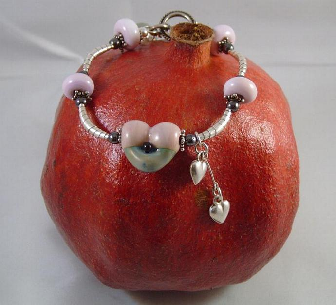 Pink Heart lampwork bead bracelet