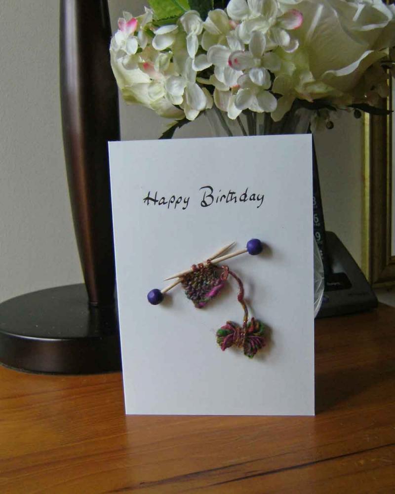 Knitting Birthday Card : Happy birthday knitting greeting card huggleknits