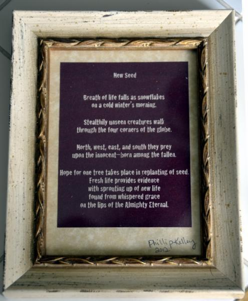 5x7 framed poem titled New Seed