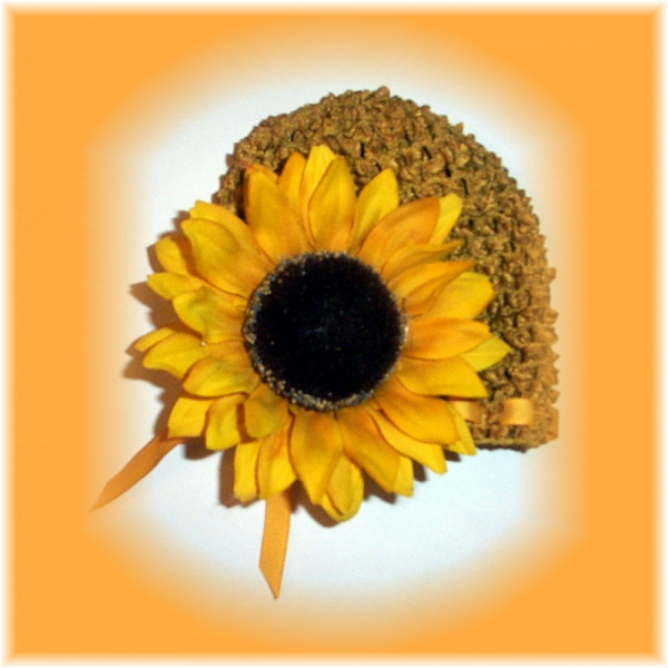 Gold Infant Beanie Cap with HUGE Sunflower Clip FREE SHIPPING