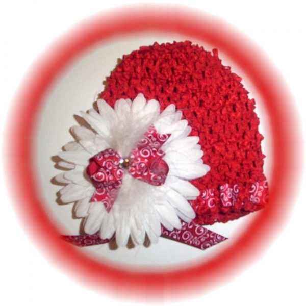 RED Stretch Beanie Cap Gerber Daisy Bow & Marabou FREE SHIPPING