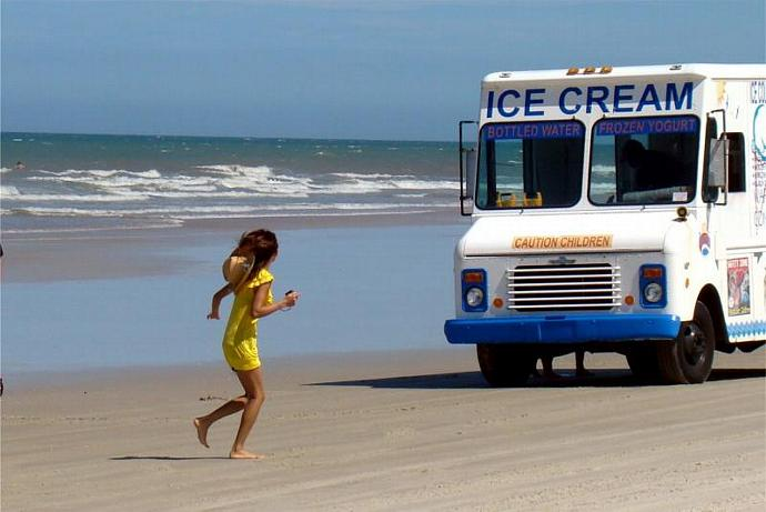 Ice Cream Truck on the Beach Fine Art Photo Print