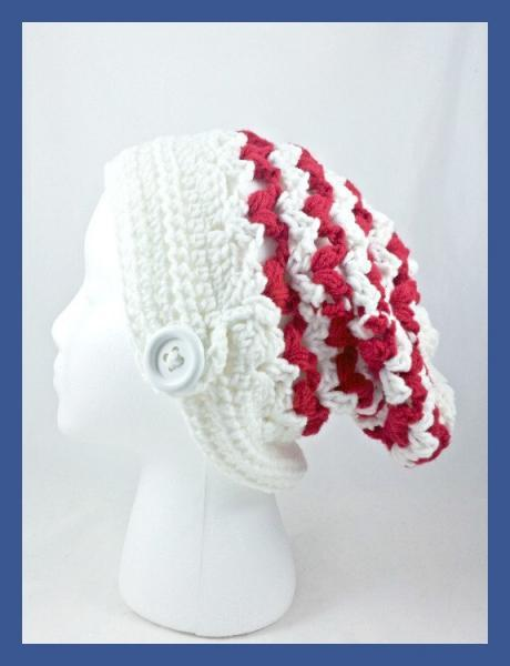 Slouch Beanie Hat, Slouchy Hat, Red & White Slouch, Red White Beanie, Slouchy Style Beanie