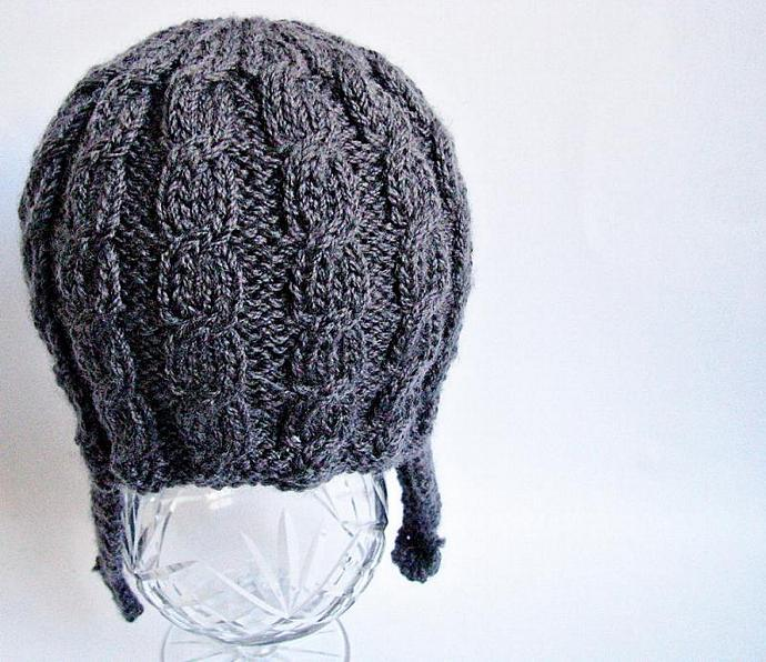 Cable Knit Hat with Earflaps