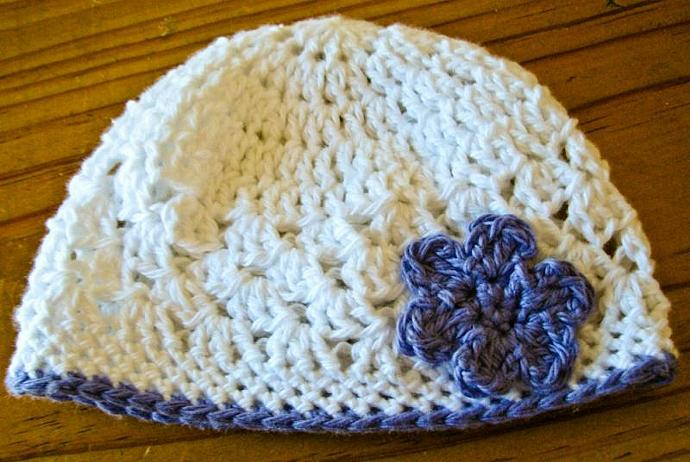 Crochet Beanie with Flower in Snow and Wild Lavender