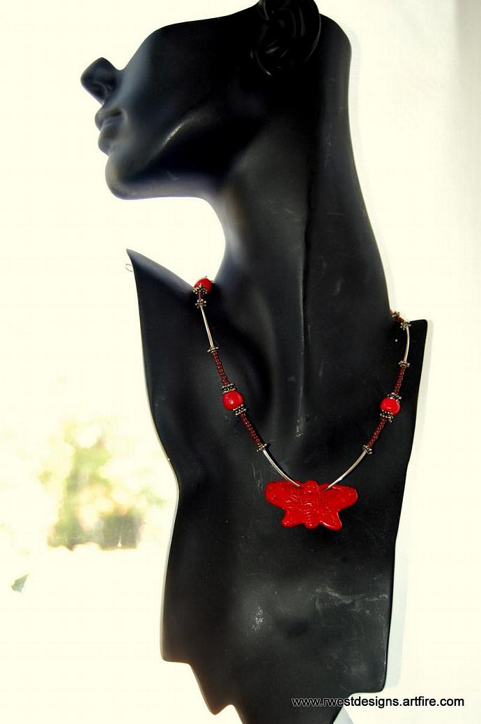 Butterfly Kiss ~ Red Butterfly Focal Point , Sterling Silver, Bali Silver, Brown