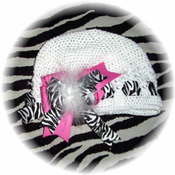 Crocheted Beanie Cap / Marabou Bow HOT PINK Zebra  FREE SHIPPING