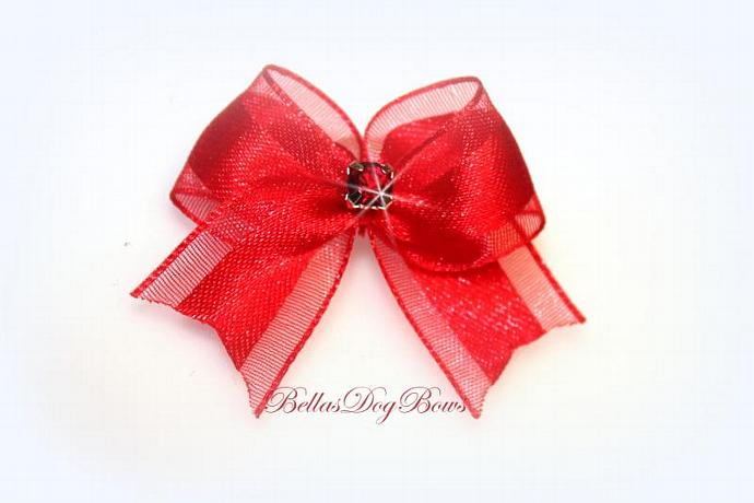 "1/2"" Red Satin & Organza Casual Bow with Red Swarovski Crystal"