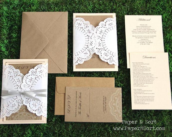 Romantic Rustic Southern Wedding Invitation Suite with Doily - Invite, RSVP,