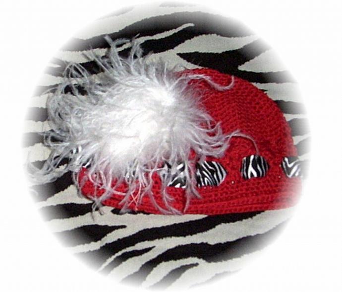 Crocheted Beanie Cap / Ostrich Feather / Zebra  FREE SHIPPING