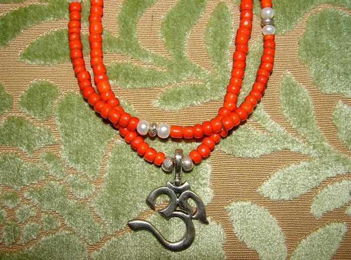 Sanskrit Om Pendant Necklace Vintage White Heart Beaded SET 2 Necklaces Sale