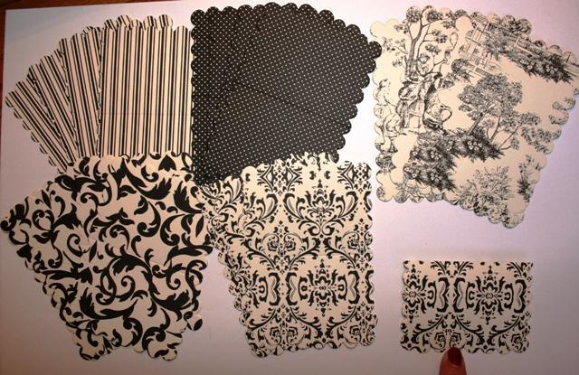 Black and Cream Little scalloped note cards to embellish your mini albums