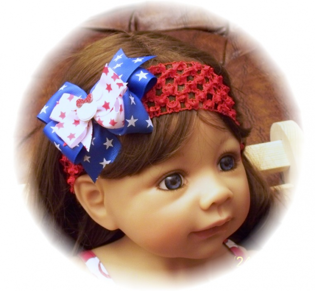 Patriotic Red White Blue STARS Minnie Bow Headband FREE SHIPPING
